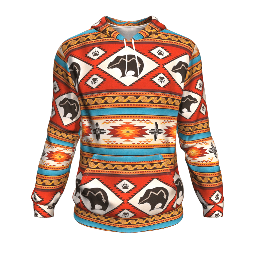 43b4396235e808 Native American Red Bear Tribe Ethnic Pattern 3D Pullover Hoodies -